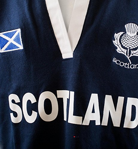 Ladies Scottish Rugby Shirt Short Sleeve Navy with White Collar - 12-14