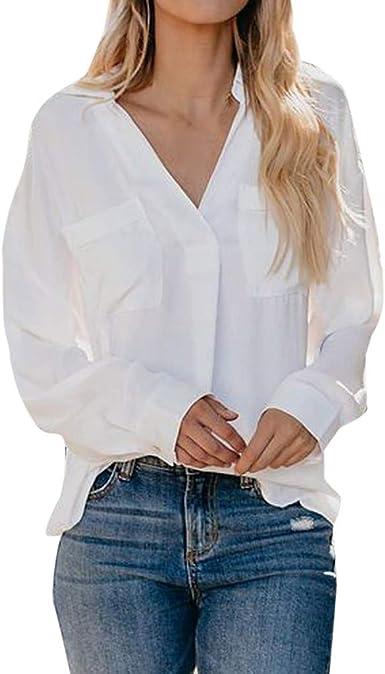 Rcool Camiseta Camisetas Tops y Blusas Camisetas Mujer Manga Corta Camisetas Deporte Mujer Camisetas Mujer, Color Puro Casual Top Fashion T Shirt Señoras Blusa de Manga Larga: Amazon.es: Ropa y accesorios