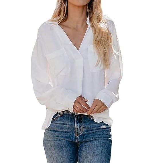 25726a74e Ropa Camisetas Mujer, ZODOF Bolsillos de Cuello Camisas Mujer Tallas ...