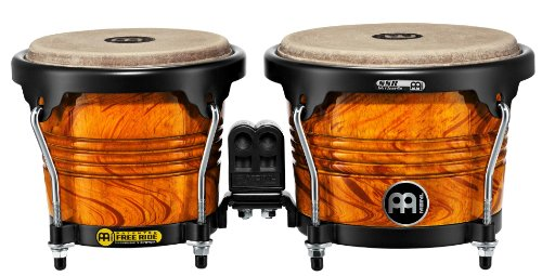Meinl Percussion FWB190AF Free Ride Series Wood Bongos, Amber Flame Finish ()