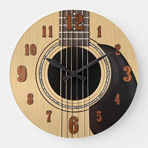 Acoustic Guitar Clock Wnumbers Wooden Decorative Round Wall Clock