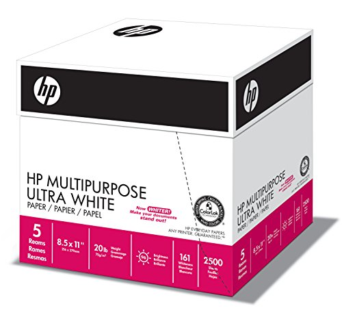 HP Paper, Multipurpose Ultra White Poly Wrap, 20lb, 8.5x11, Letter, 96 Bright, 2500 Sheets / 5 Ream Case (212500C), Made In The USA (2500 Sheet Multi Purpose Paper)