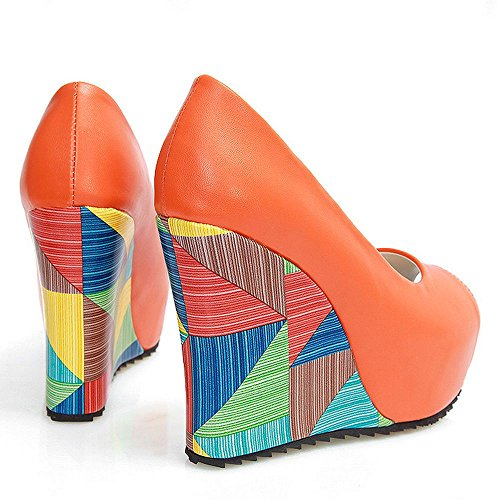 Damenmode On Slip Plattform Orange Peep Schuhe Multicolor Keilabsatzpumpen LongFengMa Toe dxwIY0qd6