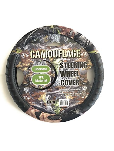 """Camouflage 14.5""""-15.5"""" 100% Odorless TPE Material Steering Wheel Cover (Camouflage)"""
