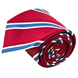100% Silk Handmade Red & Blue Striped Tie Men's Necktie by John William