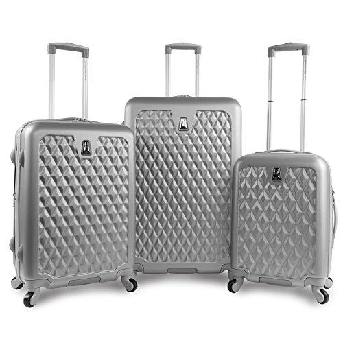 (Pacific Coast Signature Pandora Hardside Rolling Luggage Set, Silver)