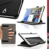 """iGadgitz Premium Executive Black PU Leather Case Cover for Samsung Galaxy Tab S 8.4"""" SM-T700 with Multi-Angle Viewing stand + Auto Sleep/Wake + Hand Strap + Screen Protector"""