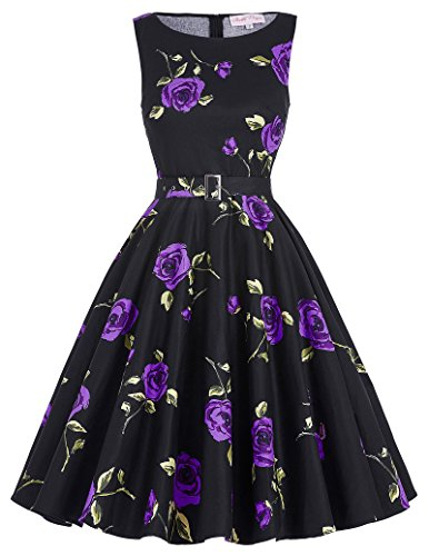 [Floral Print 1940s Pin-Up Wiggle Dress Sleeveless Size S BP02-19] (1940s Pin Up Girl)