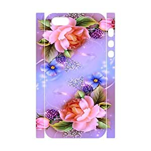Iphone 5,5S 3D Personalized Phone Back Case with Flower with Butterfly Image