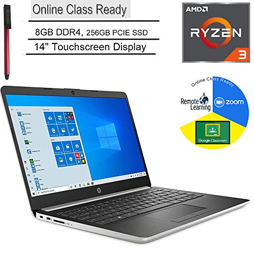 HP 14 14″ Touchscreen Laptop Computer, AMD Ryzen 3 3200U up to 3.5GHz (Beats i5-7200U), 8GB DDR4, 256GB PCIe SSD, Microphone, Online Class Ready, Windows 10, BROAGE 3-in-1 Stylus 64GB Flash Drive