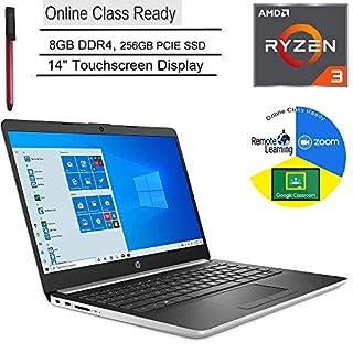 "HP 14 14"" Touchscreen Laptop Computer, AMD Ryzen 3 3200U up to 3.5GHz (Beats i5-7200U), 8GB DDR4, 256GB PCIe SSD, Microphone, Online Class Ready, Windows 10, BROAGE 3-in-1 Stylus 64GB Flash Drive"
