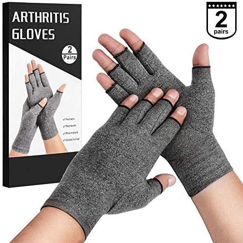 AMAZACER Painfromリウマチや変形性関節症を緩和するために圧縮手袋、女性男性、指なし設計のための2ペアのオープンフィンガーハンド関節炎グローブ (Size : L)