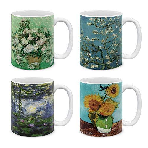 Van Gogh Water Lilies - MUGBREW Coffee Mugs Paintings 4 Piece Set Sunflowers Blue By Van Gogh, Almond Blossom Van Gogh, Claude Monet Water Lilies, Vase With Pink Roses By Vincent Van Gogh, 11 Oz Gift Mugs