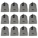 Gelante 3M Thinsulate Women Men Knitted Thermal Winter Cap Casual Beanies-Wholesale Lot 12 Packs-Light Grey