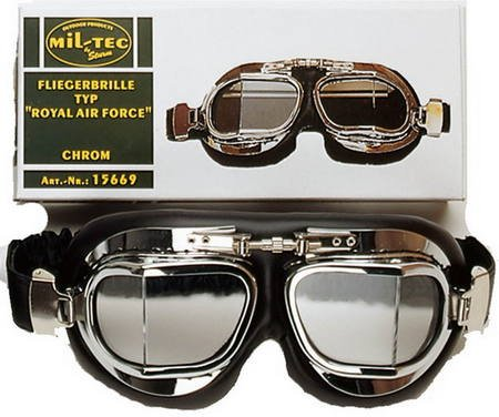 Deluxe WW2 Reproduction RAF British Aviator Style FLYING GOGGLES in Chrome, Black - Goggles Fancy