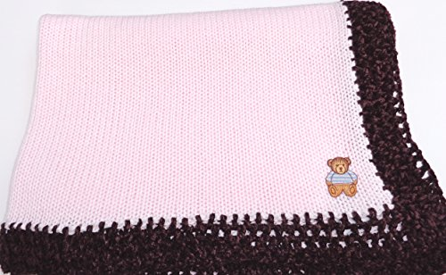 Knitted Crochet Finished Light Pink Cotton Dark Brown Chenille Trim Baby Blanket - Issey Light