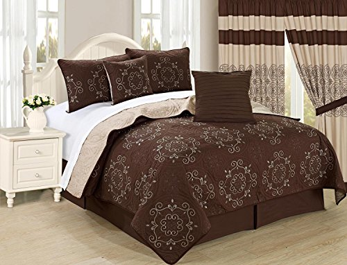 All American Collection New 6pc Circle Reversible Embroidered Bedspread/Quilt Set (Cal King 6pc, Coffee)
