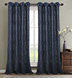 RT Designers Collection Crescent Embroidered 56 x 84 in. Lined Grommet Curtain Panel, Navy Review