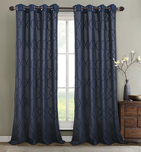 RT Designers Collection Crescent Embroidered 56 x 84 in. Lined Grommet Curtain Panel, Navy