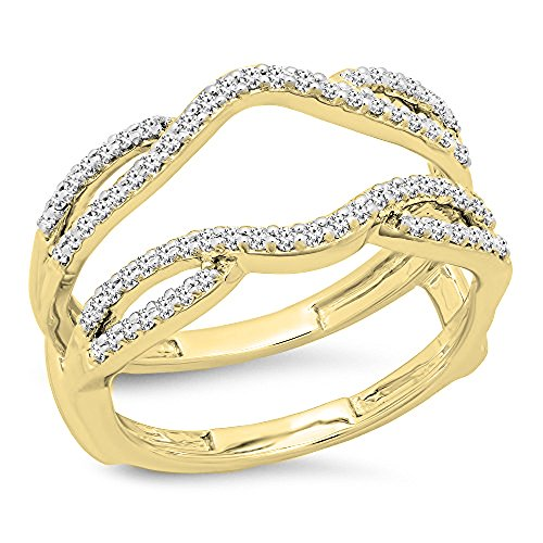 Ring Guards Yellow Jewelry - Dazzlingrock Collection 0.35 Carat (ctw) 10K White Diamond Wedding Band Enhancer Guard Double Ring 1/3 CT, Yellow Gold, Size 8