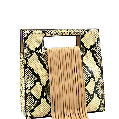 Fringe Accent Snake Print Cut-out Handle 2-Way Medium Satchel Bag Purse ()