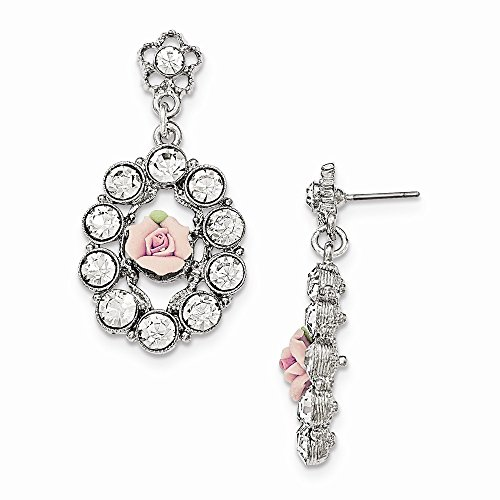 1928 Jewelry, Silver-tone White Crystal Pink Porcelain Flower Open Dangle Earrings ()