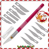 4inLoveMe Craft Knife Set Aluminum Grip Precision with Safety Cap and Craft Blades for Art, Hobby, Scrapbooking and Sculpture (Rose Pink)
