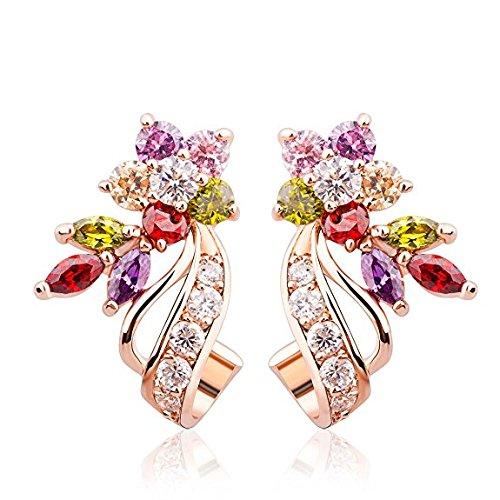 BAMOER Rose Gold Plated Flower Design Multicolor Cubic Zirconia Stud Earrings for Women Girls CZ Jewelry
