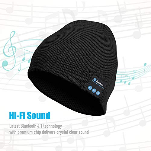 Bluetooth Beanie Hat Unisex, Rechargeable Bluetooth Cap with Built-in Stereo Speakers, Delightful for Men Women Teen Boys Girls