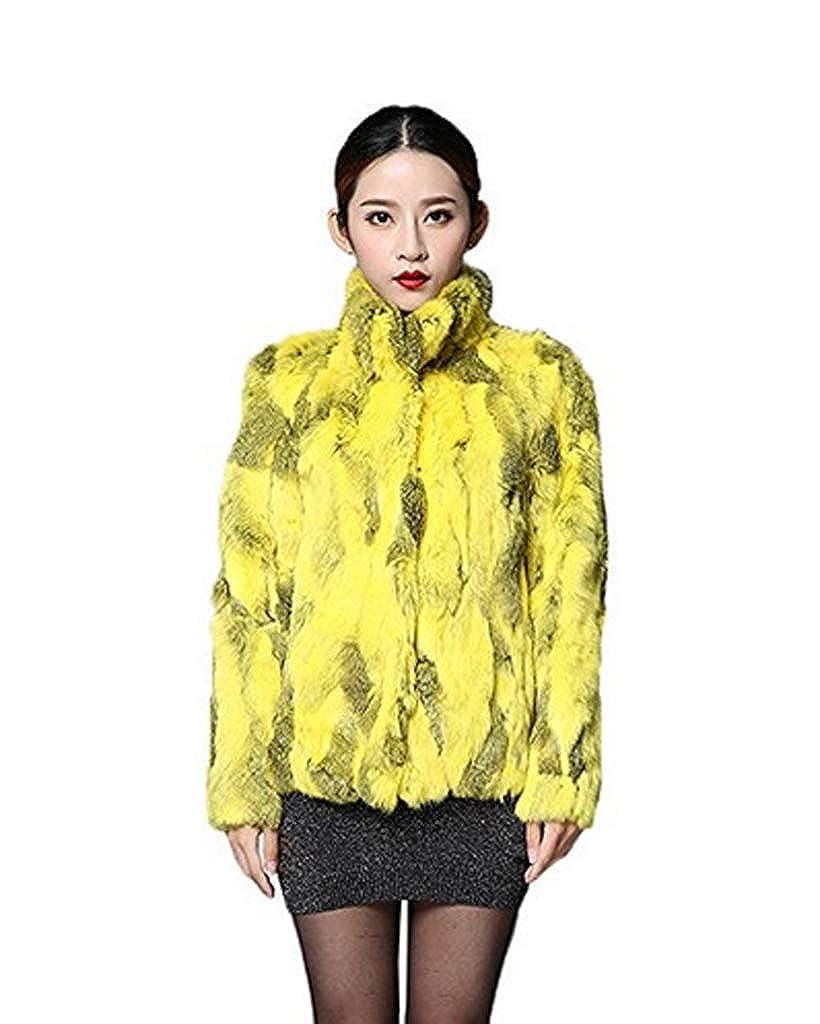 YR.Lover Women's Genuine Rabbit Fur Long Sleeve Warm Standing Collar Coat Flash