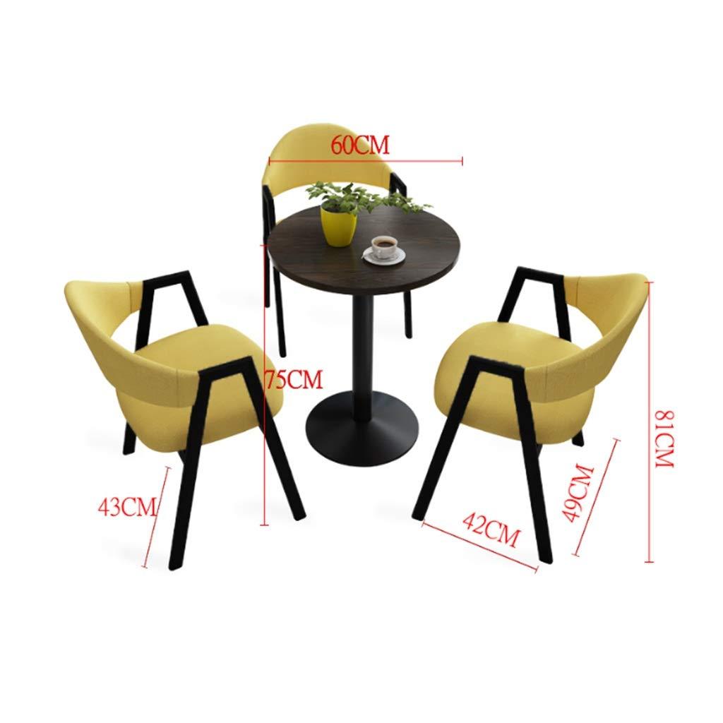 Kök matstolar, viloplats sovrum balkong västerländsk restaurang mjölk te butik bord och stolar kombination set i 4 delar (färg: Ljusblå) Brun