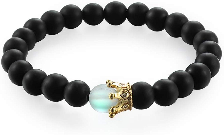 1set Trendy Natural Moonstone Beads Bracelets Men Jewelry Charm Golden Crystal Crown Bracelet For Women Bangles Couples Jewelry