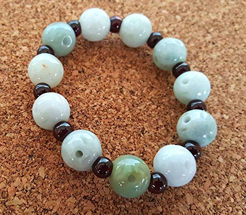 Old Green Jade Bracelet Bangle - Natural Grade A/Type A Burma Jade Jadeite Old Coin Carving Beads And Garnet Beads Bangle Bracelet (Item no : JADEJ1028)