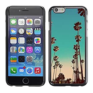 Miami la noche del trullo California Pink Palms - Metal de aluminio y de plástico duro Caja del teléfono - Negro - Apple (5.5 inches!!!) iPhone 6+ Plus / 6S+ Plus