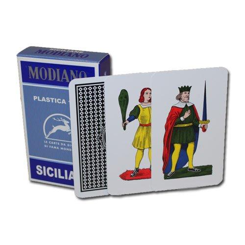 Deck of Modiano Siciliane Italian Regional 100% Plastic Cards - Includes Bonus Cut Card! ()