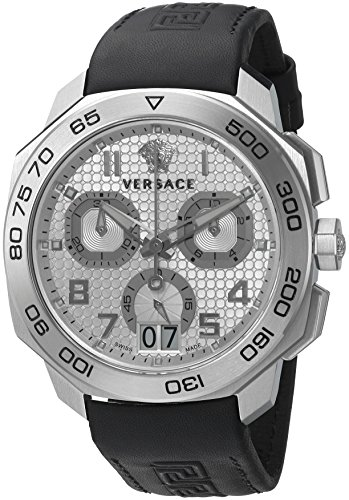 Versace Men's 'DYLOS CHRONO' Swiss Quartz Stainless Steel and Black Leather Casual Watch (Model: VQC070015)