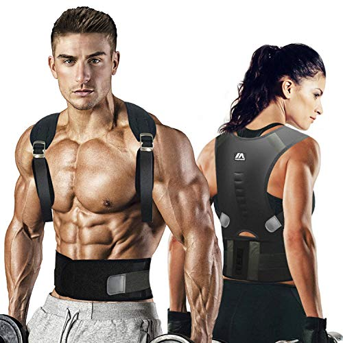 maysuwell Back Brace Posture Corrector | Fully Adjustable Support Brace for Men and Women|Improves Posture and Provides Lumbar Back Brace| Lower and Upper Back Pain Relief (M)