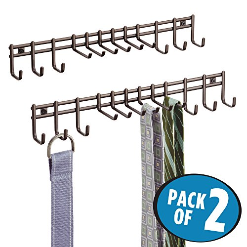 mDesign Wall Mount Closet Organizer Rack for Ties, Belts - Pack of 2, Bronze