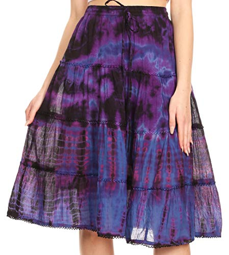 Sakkas 18452 - Antonia Women's Skirt Tie Dye Boho Elastic Waist Adjustable Embroidery - Purple - OS