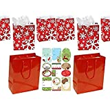 Red and White Christmas Gift Bag Assortment - 12 Pack Medium Solids and Prints