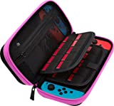 Butterfox Nintendo Switch Carry Case with 29 Game Cartridge and 2 Mirco SD Card Holders, Large Secure Mesh Pouch for Nintendo Switch Accessories - Pink/Black