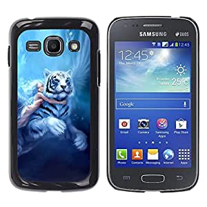 Paccase / SLIM PC / Aliminium Casa Carcasa Funda Case Cover - Fairytale Big Tiger Girl Wings Blue Hair - Samsung Galaxy Ace 3 GT-S7270 GT-S7275 GT-S7272