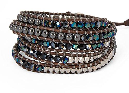 SPUNKYsoul 5 Wrap Bracelets Blue Irridescent Silver & Hematite Collection by SPUNKYsoul