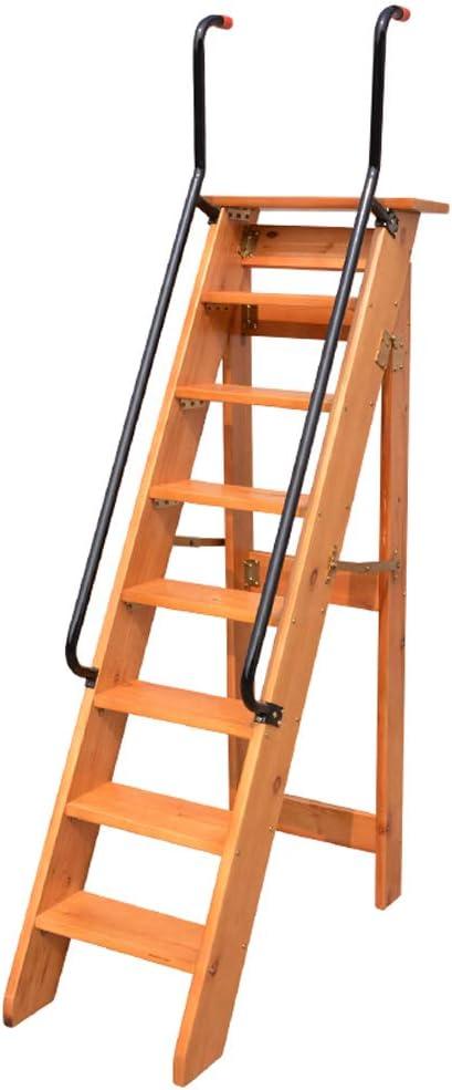 YONGMEI - Escalera Plegable (Madera Maciza, 8 peldaños), diseño de espiguilla: Amazon.es: Bricolaje y herramientas