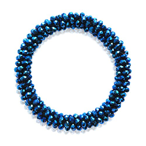 MHZ JEWELS Royal Blue Beaded Stretch Bracelets with Crystal Beads Gemstone Bracelets for - Bracelet Blue Stretch Beaded