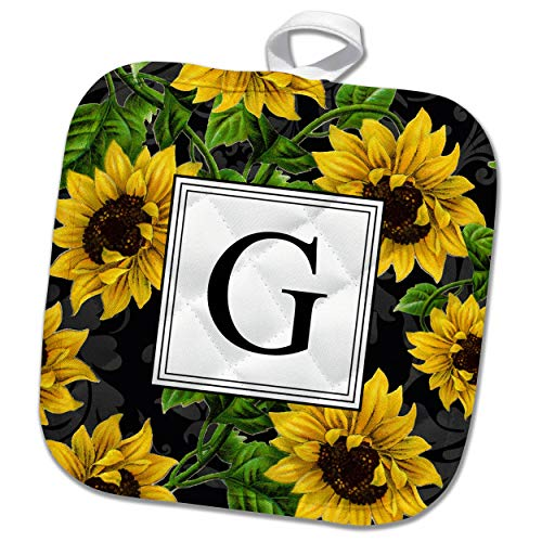 - 3dRose InspirationzStore - Monograms - Sunflower Letter G Monogram black and yellow flowers classic floral - 8x8 Potholder (phl_316172_1)
