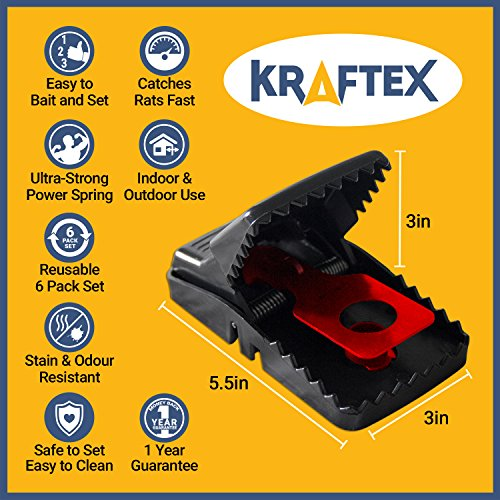 Kraftex Rat Trap Traps - Catch Rodents Fast [6 Pack] [Quick Effective] Trapper Pack [Easy to Use Zero Contact with Rats] Protect Children, Pets, Livestock Against Diseases and Pests