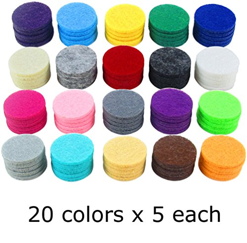 Diffuser Cotton Pads (Springcreek (100 Pad Value Pack) Aromatherapy Essential Oil Diffuser Locket Necklace Refill Pads, 7/8
