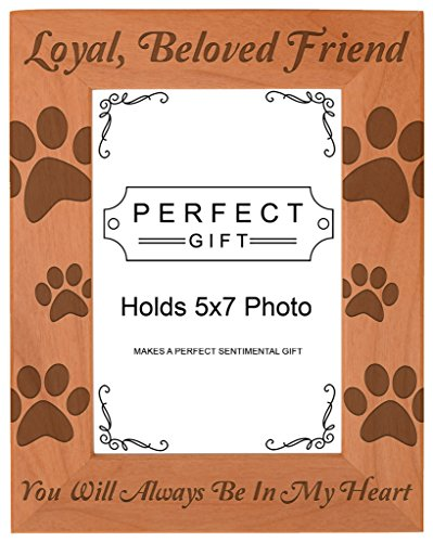 Gifts For All By Rachel Olevia Pet Memorial Gift Remembrance of Dog or Cat Natural Wood Engraved 5x7 Portrait Picture Frame Wood (Family Portrait Christmas Cat)