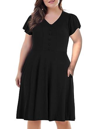 Nemidor Women\'s Front Button V Neck Short Sleeve Vintage Plus Size ...